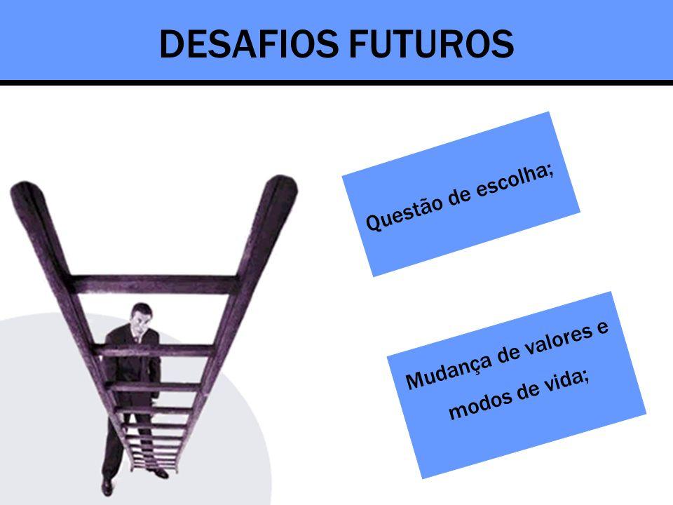 DESAFIOS FUTUROS Questão de escolha; Mudança de valores e