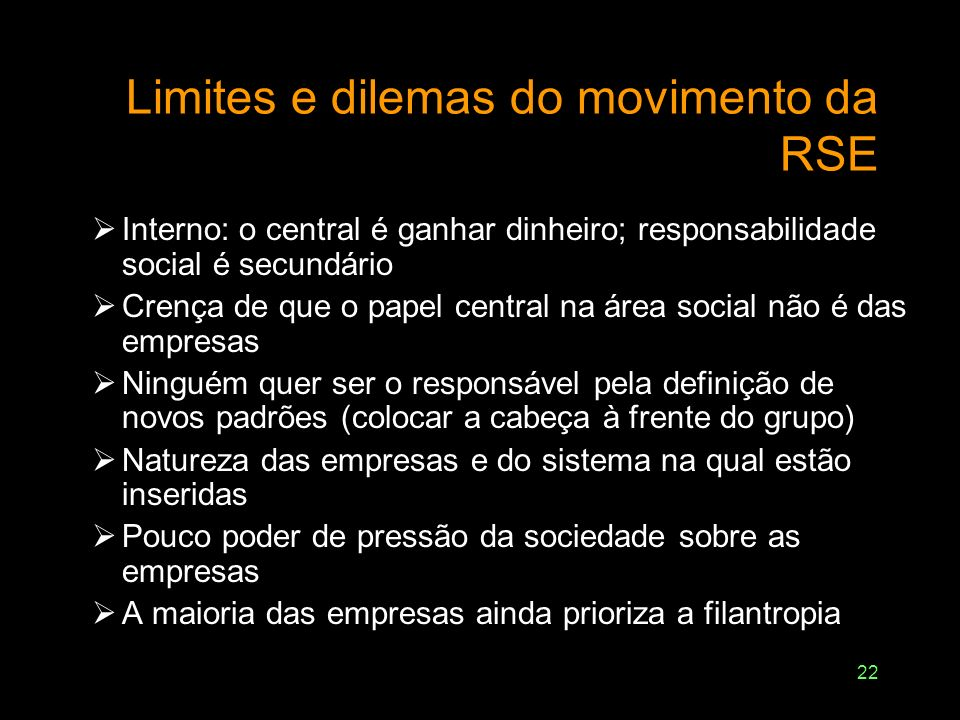 Limites e dilemas do movimento da RSE