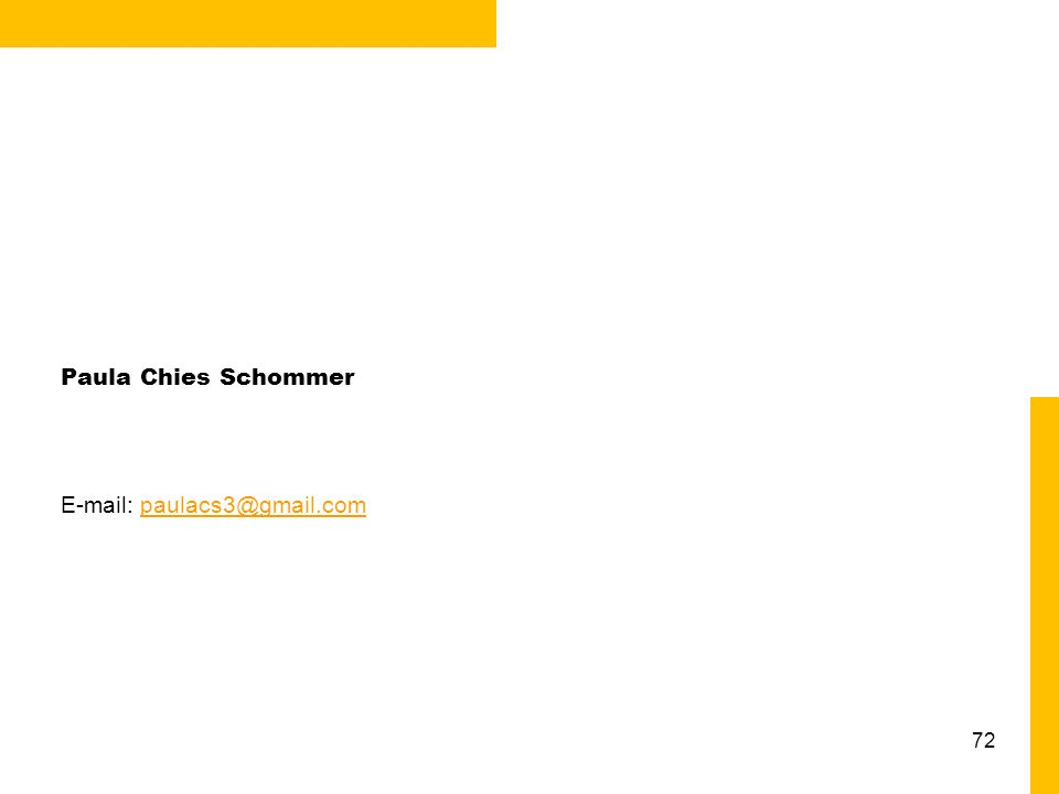 Paula Chies Schommer E-mail: paulacs3@gmail.com