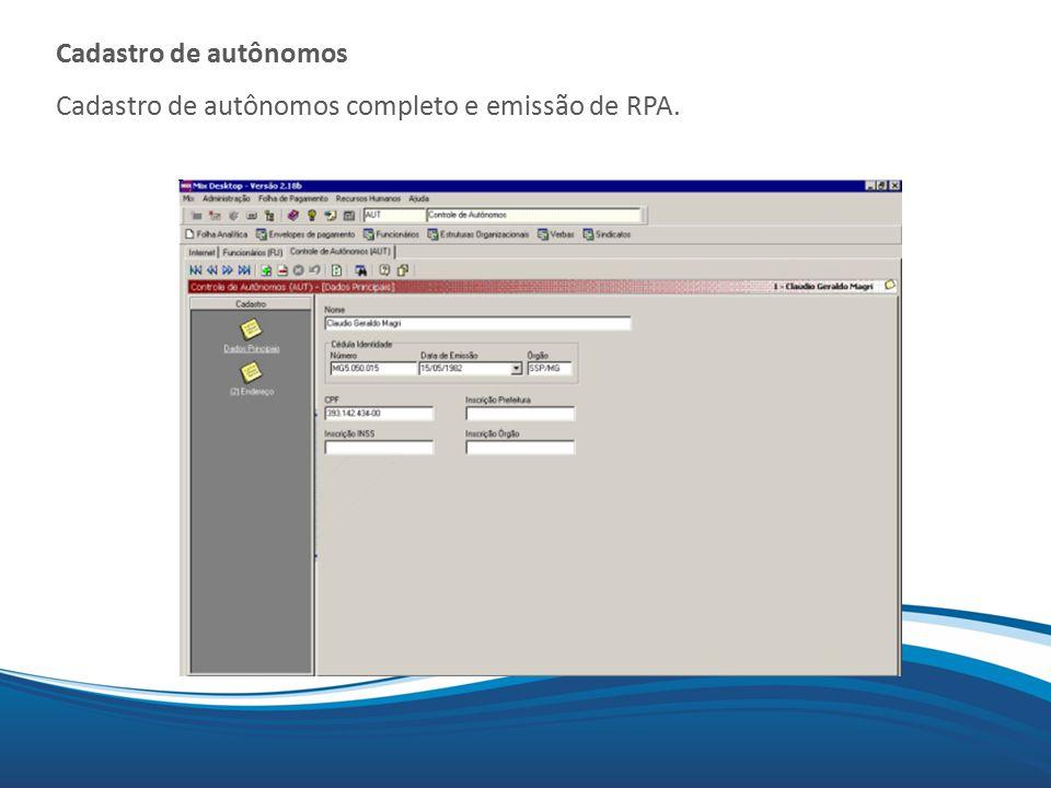 Cadastro de autônomos Cadastro de autônomos completo e emissão de RPA.
