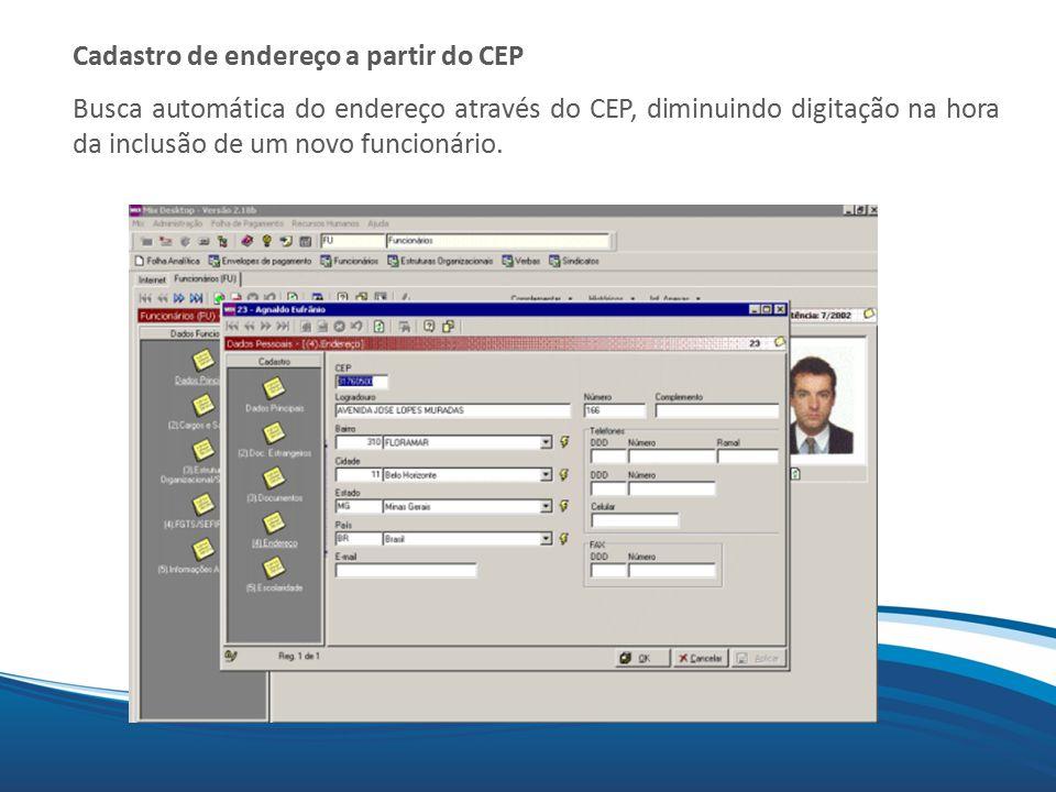 Cadastro de endereço a partir do CEP