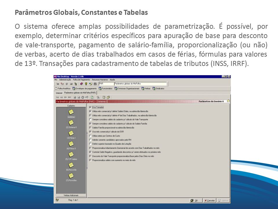 Parâmetros Globais, Constantes e Tabelas