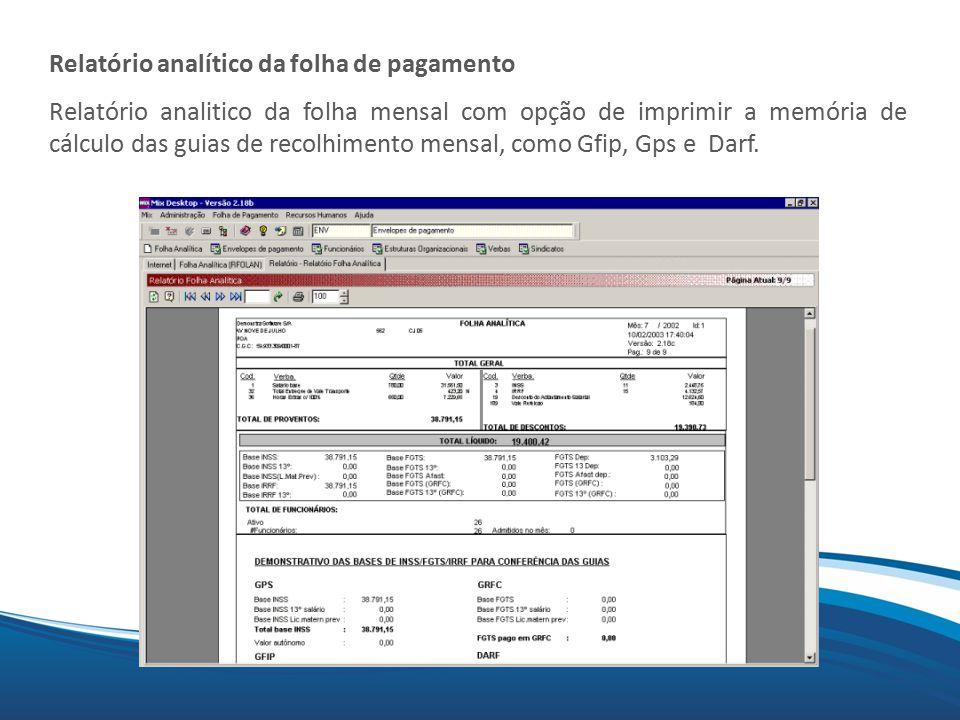 Relatório analítico da folha de pagamento