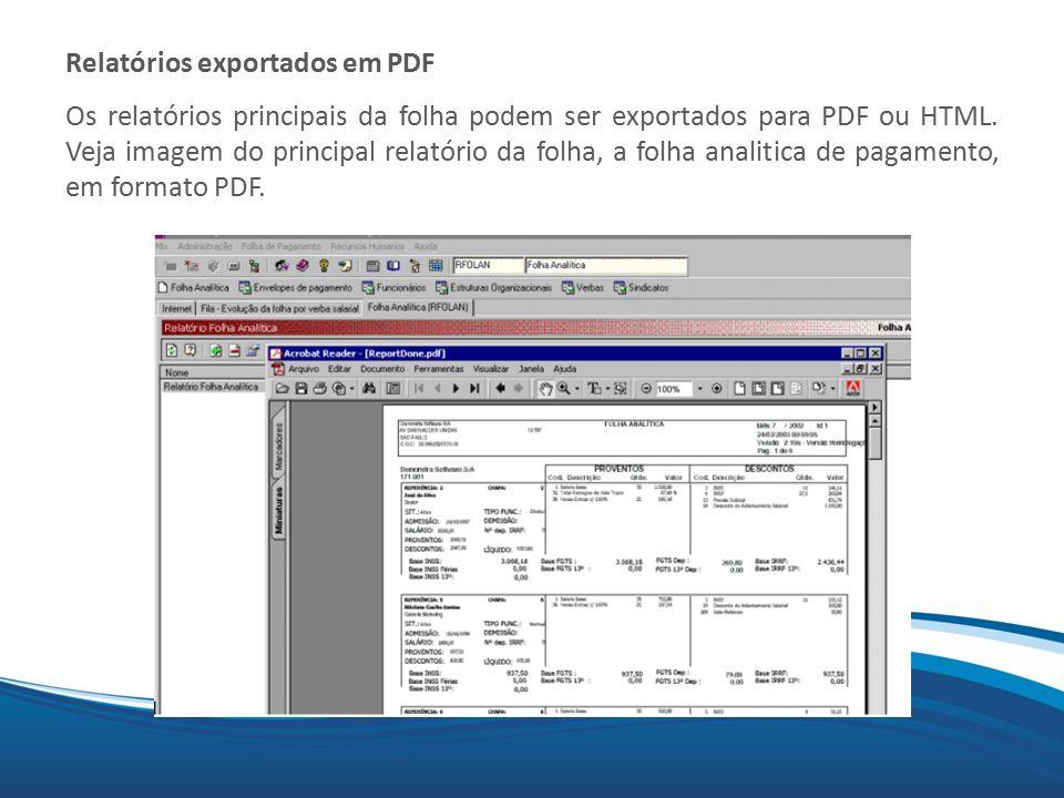 Relatórios exportados em PDF