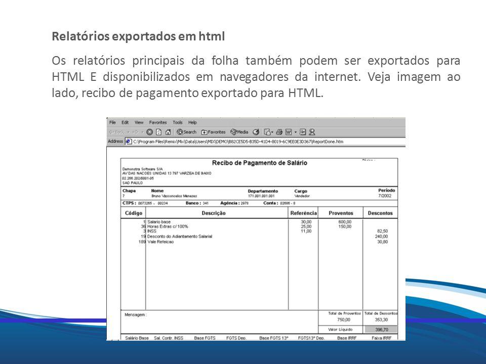 Relatórios exportados em html