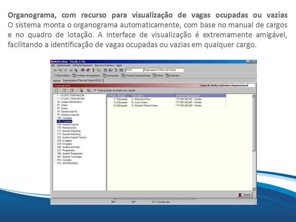 Organograma, com recurso para visualização de vagas ocupadas ou vazias O sistema monta o organograma automaticamente, com base no manual de cargos e no quadro de lotação.