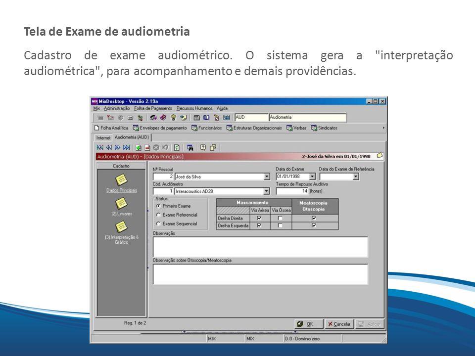 Tela de Exame de audiometria