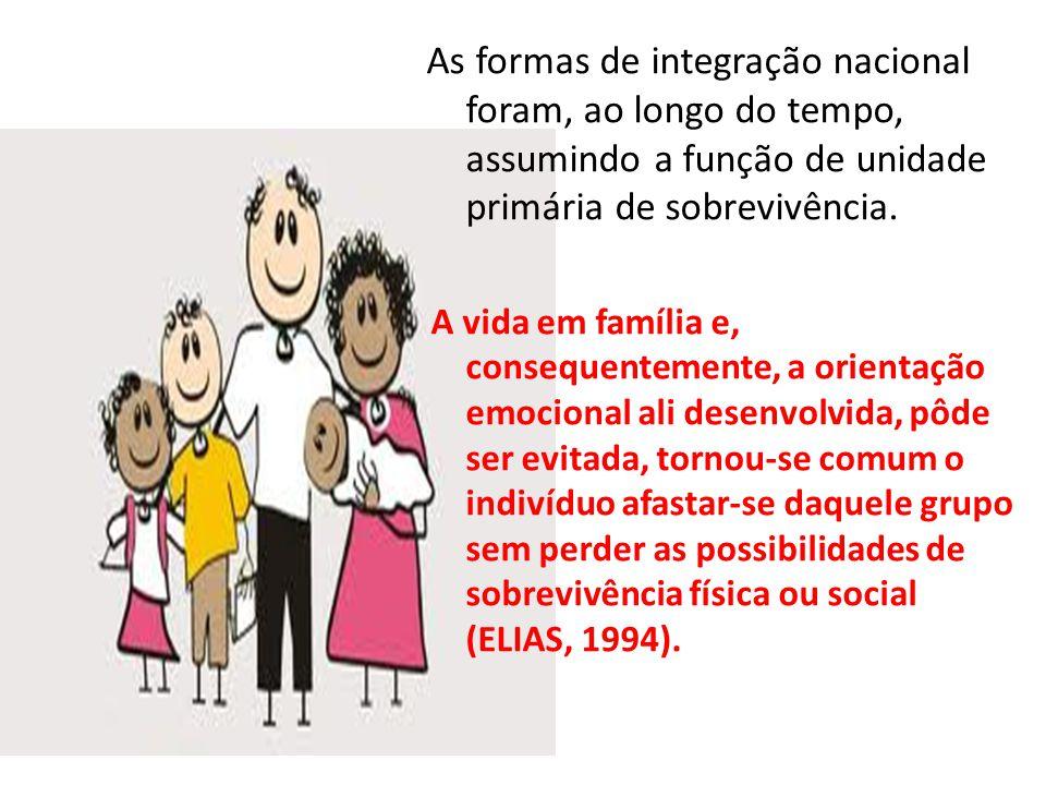 As formas de integração nacional foram, ao longo do tempo, assumindo a função de unidade primária de sobrevivência.