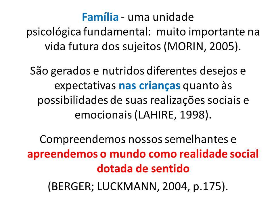 Família - uma unidade psicológica fundamental: muito importante na vida futura dos sujeitos (MORIN, 2005).