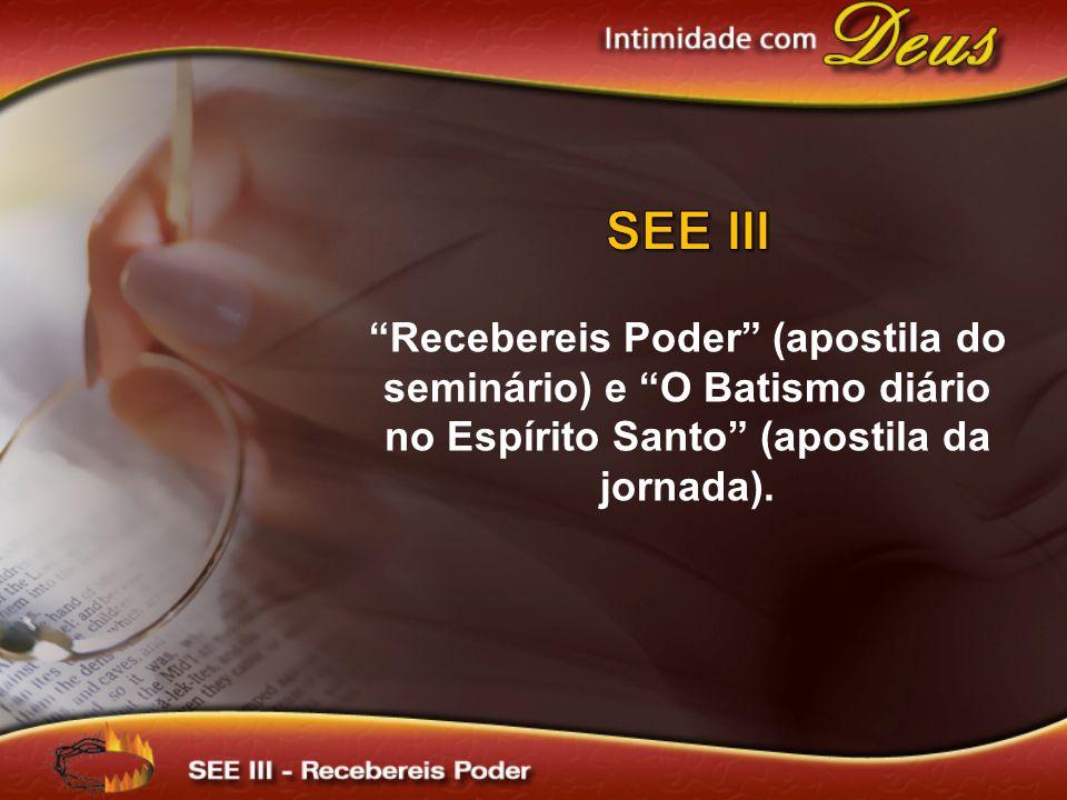 SEE III Recebereis Poder (apostila do seminário) e O Batismo diário no Espírito Santo (apostila da jornada).