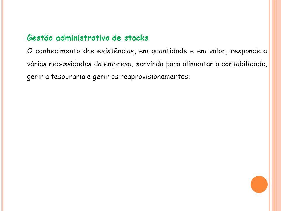 Gestão administrativa de stocks