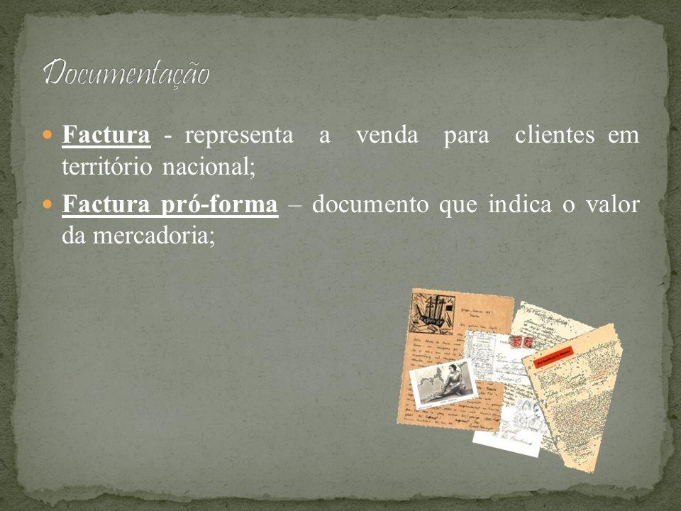 DocumentaçãoFactura - representa a venda para clientes em território nacional; Factura pró-forma – documento que indica o valor da mercadoria;