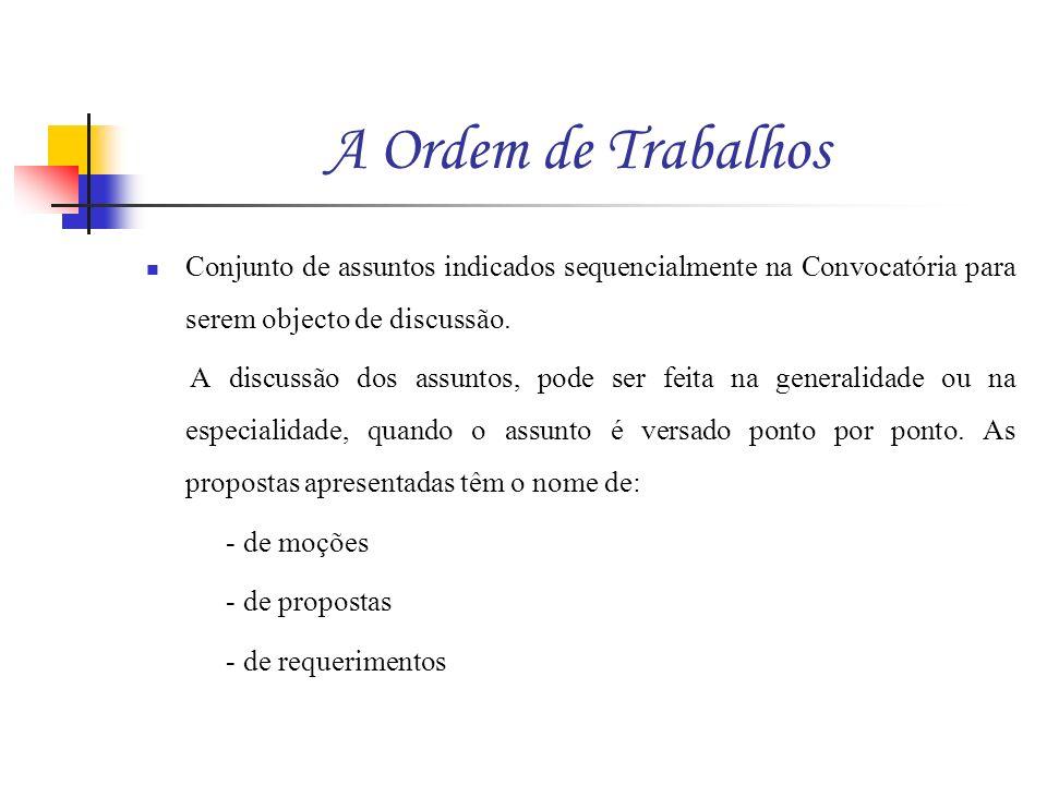 A Ordem de Trabalhos Conjunto de assuntos indicados sequencialmente na Convocatória para serem objecto de discussão.