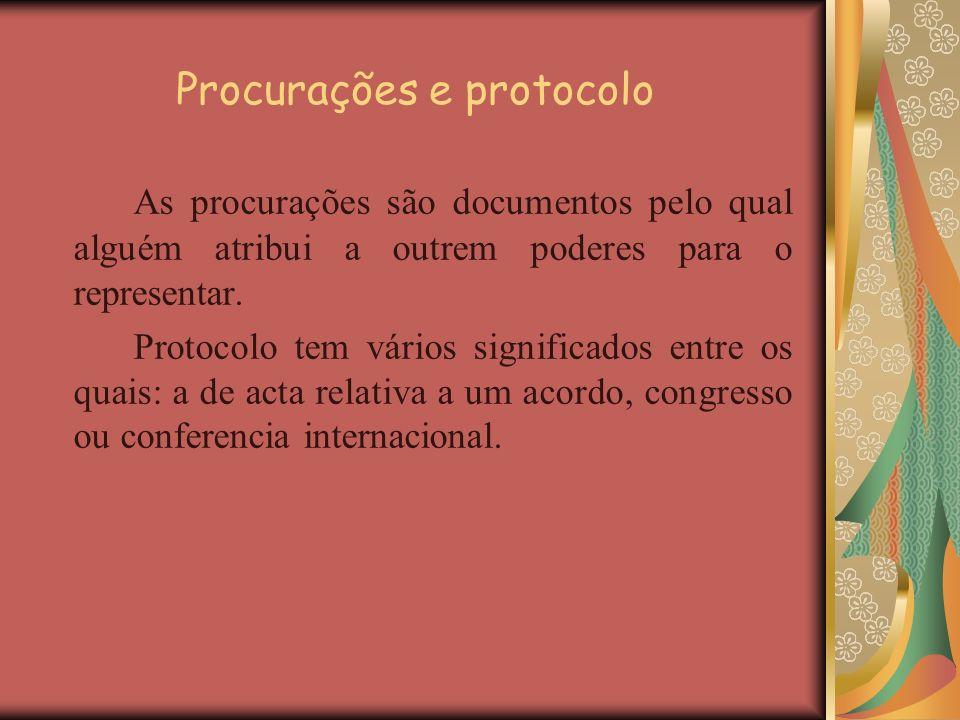Procurações e protocolo