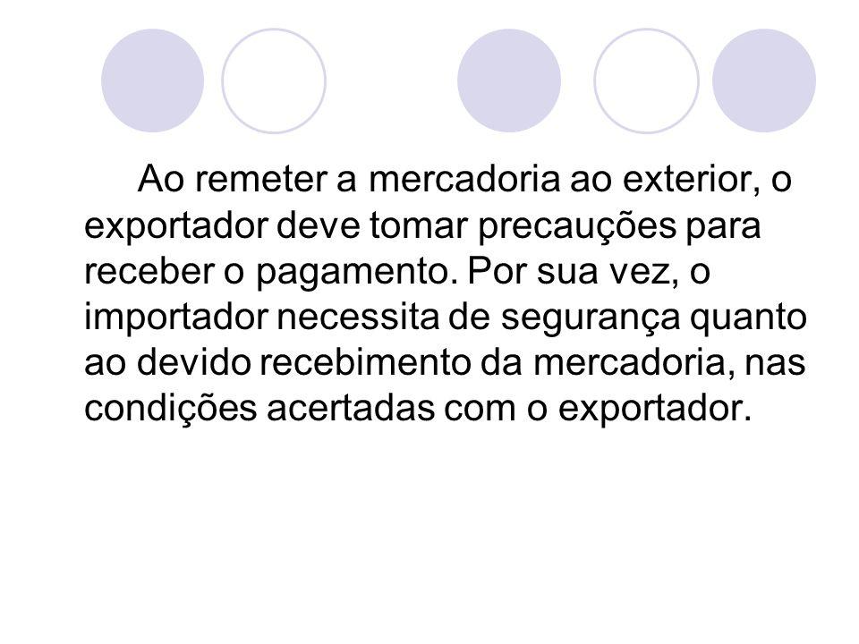 Ao remeter a mercadoria ao exterior, o exportador deve tomar precauções para receber o pagamento.