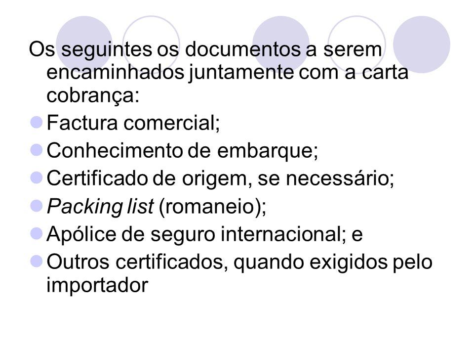 Os seguintes os documentos a serem encaminhados juntamente com a carta cobrança: