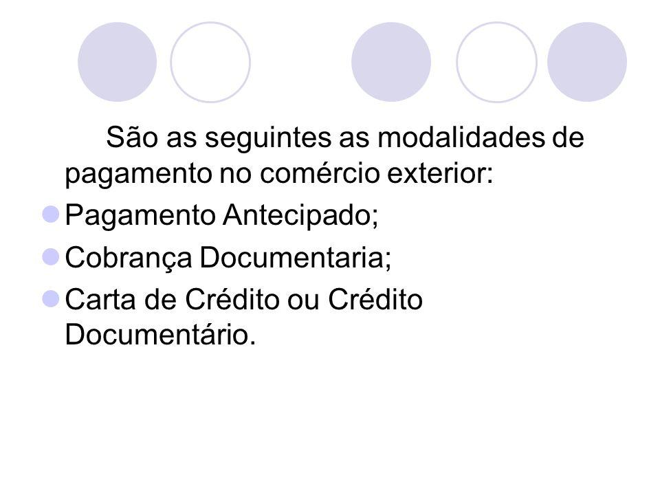 São as seguintes as modalidades de pagamento no comércio exterior: