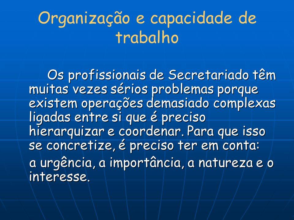 Organização e capacidade de trabalho