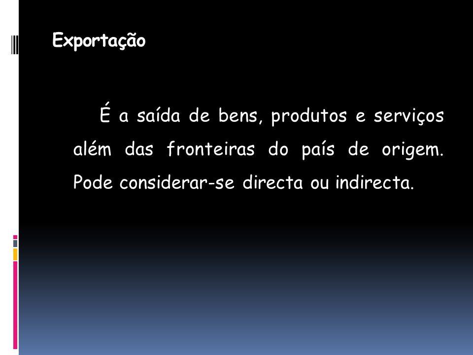 Exportação É a saída de bens, produtos e serviços além das fronteiras do país de origem.