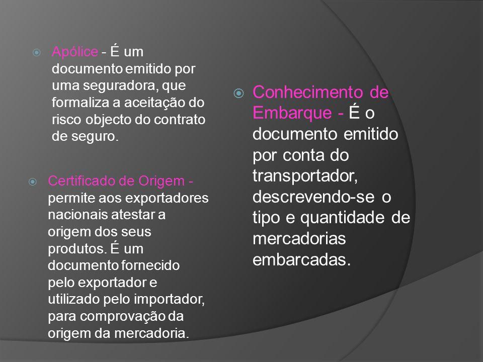 Apólice - É um documento emitido por uma seguradora, que formaliza a aceitação do risco objecto do contrato de seguro.