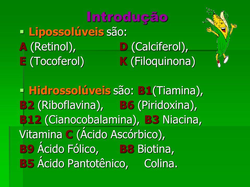 Introdução Lipossolúveis são: A (Retinol), D (Calciferol),