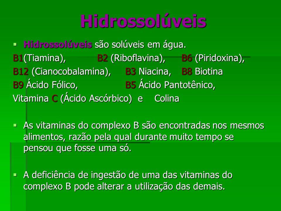 Hidrossolúveis Hidrossolúveis são solúveis em água.