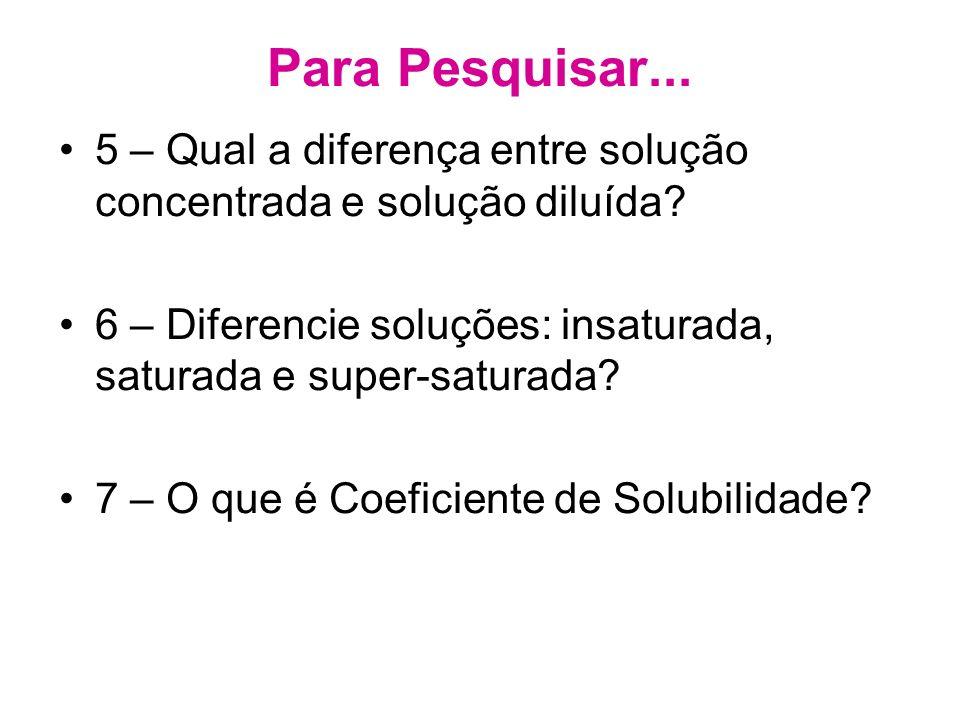 Para Pesquisar... 5 – Qual a diferença entre solução concentrada e solução diluída 6 – Diferencie soluções: insaturada, saturada e super-saturada