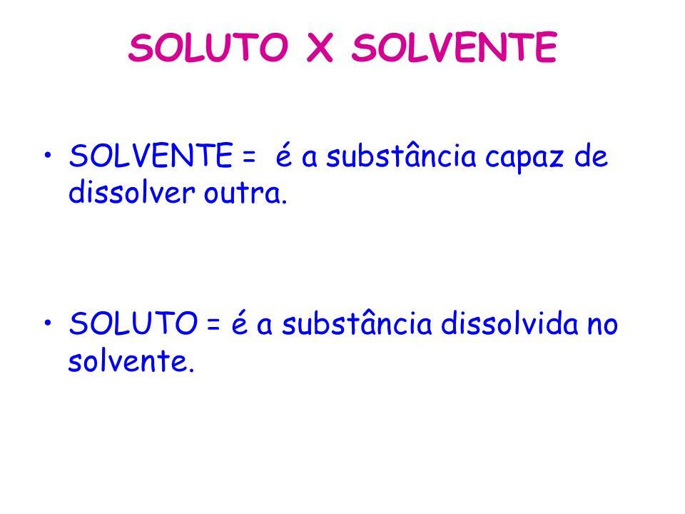 SOLUTO X SOLVENTE SOLVENTE = é a substância capaz de dissolver outra.