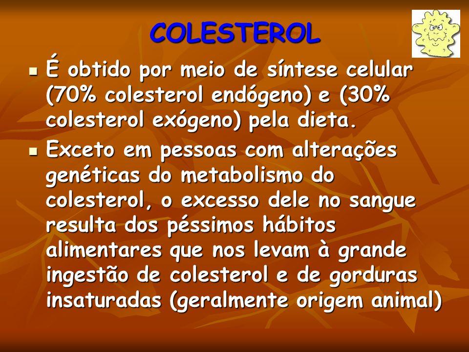 COLESTEROL É obtido por meio de síntese celular (70% colesterol endógeno) e (30% colesterol exógeno) pela dieta.