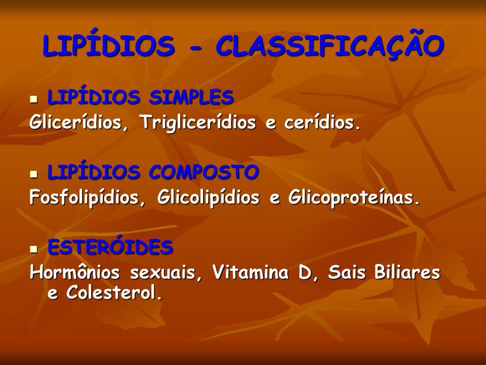 LIPÍDIOS - CLASSIFICAÇÃO