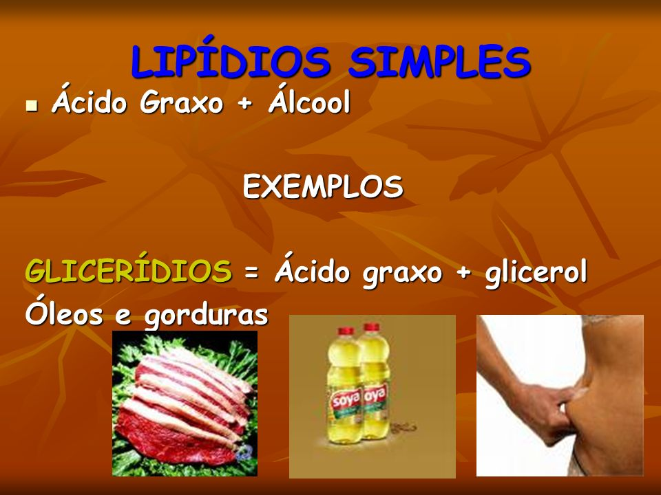 LIPÍDIOS SIMPLES Ácido Graxo + Álcool EXEMPLOS
