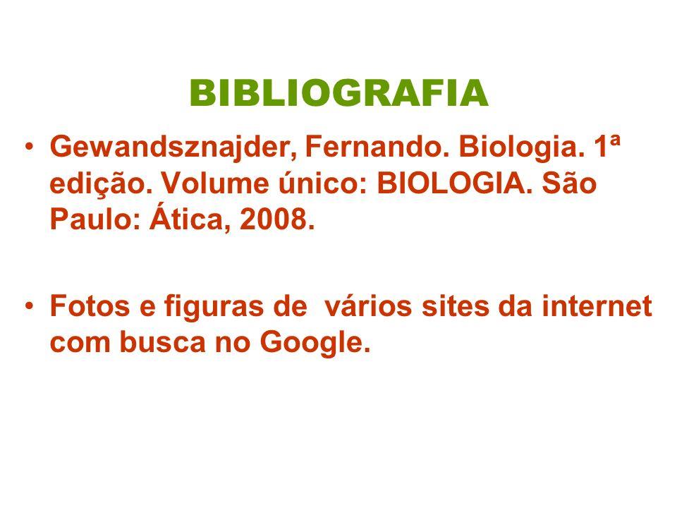 BIBLIOGRAFIA Gewandsznajder, Fernando. Biologia. 1ª edição. Volume único: BIOLOGIA. São Paulo: Ática, 2008.