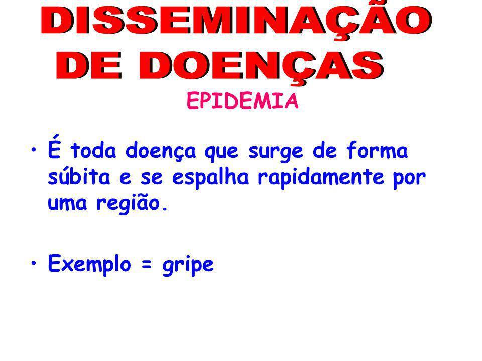 DISSEMINAÇÃO DE DOENÇAS EPIDEMIA