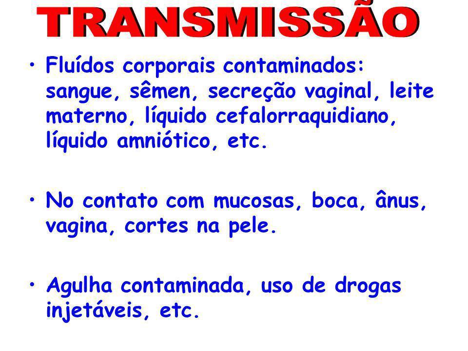 TRANSMISSÃO Fluídos corporais contaminados: sangue, sêmen, secreção vaginal, leite materno, líquido cefalorraquidiano, líquido amniótico, etc.