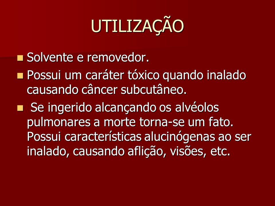 UTILIZAÇÃO Solvente e removedor.