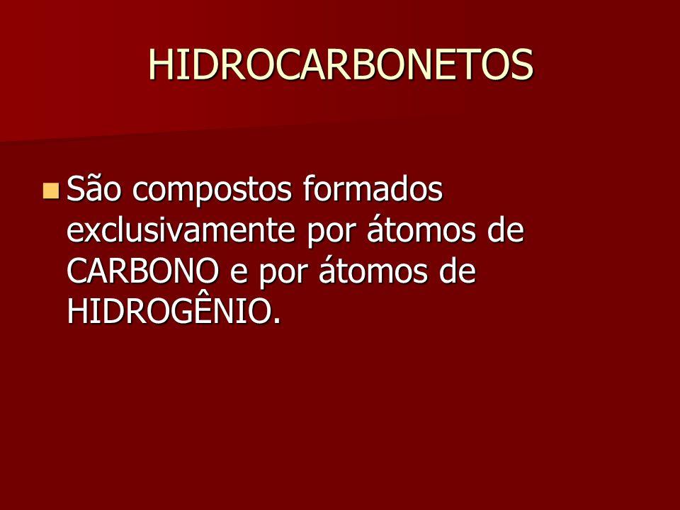 HIDROCARBONETOS São compostos formados exclusivamente por átomos de CARBONO e por átomos de HIDROGÊNIO.