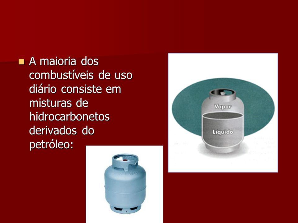 A maioria dos combustíveis de uso diário consiste em misturas de hidrocarbonetos derivados do petróleo: