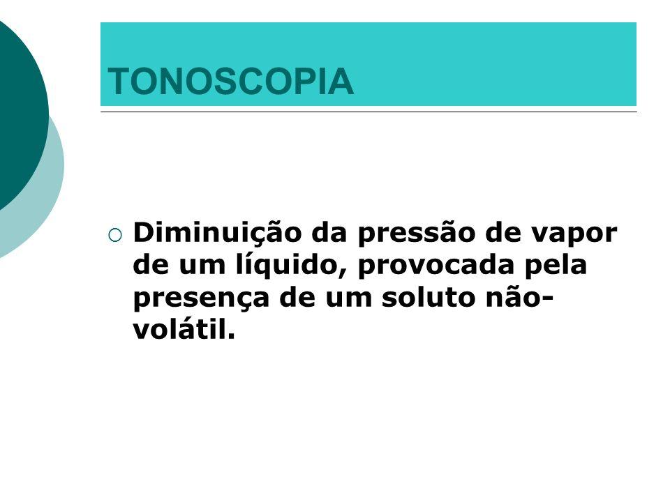 TONOSCOPIA Diminuição da pressão de vapor de um líquido, provocada pela presença de um soluto não-volátil.