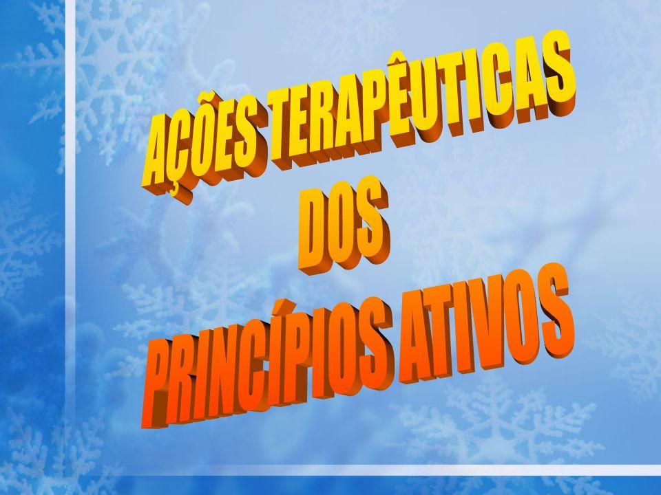 AÇÕES TERAPÊUTICAS DOS PRINCÍPIOS ATIVOS