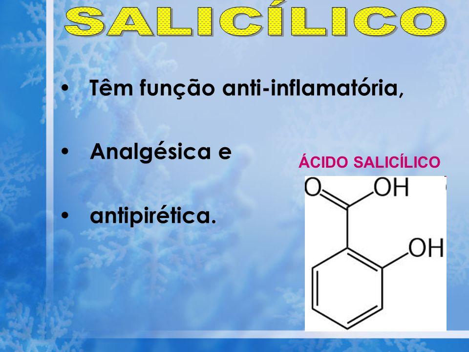 SALICÍLICO Têm função anti-inflamatória, Analgésica e antipirética.