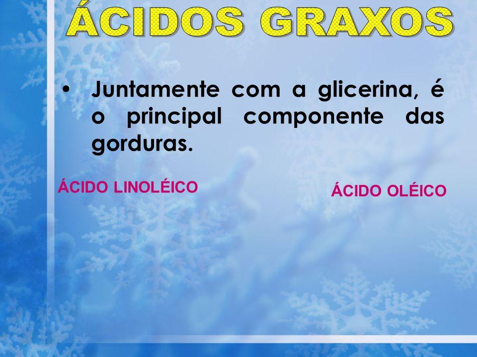 ÁCIDOS GRAXOS Juntamente com a glicerina, é o principal componente das gorduras.