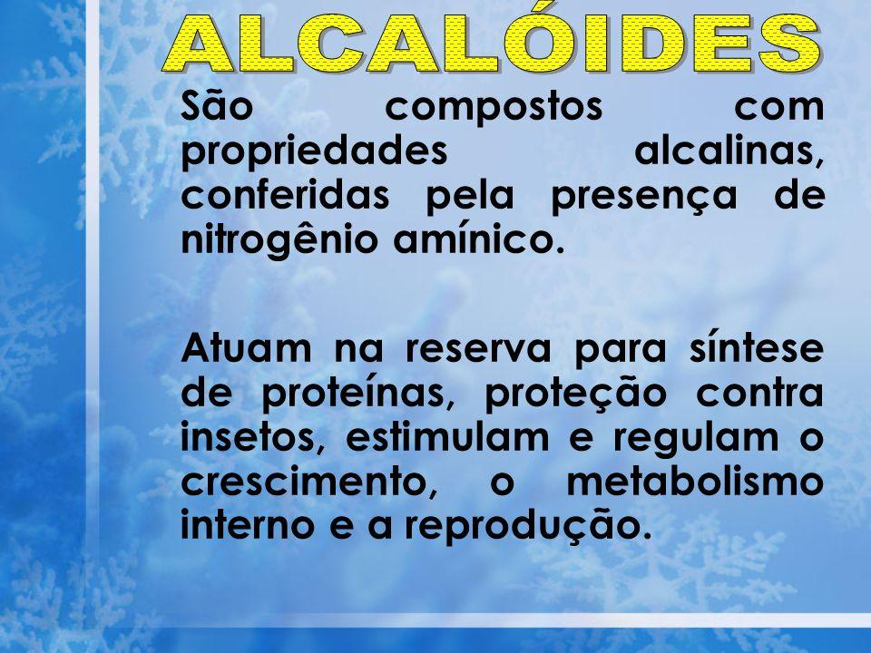 ALCALÓIDES São compostos com propriedades alcalinas, conferidas pela presença de nitrogênio amínico.