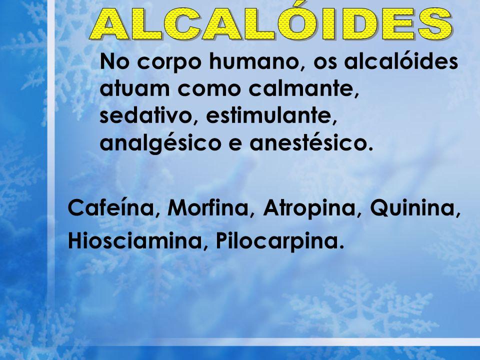 ALCALÓIDES No corpo humano, os alcalóides atuam como calmante, sedativo, estimulante, analgésico e anestésico.