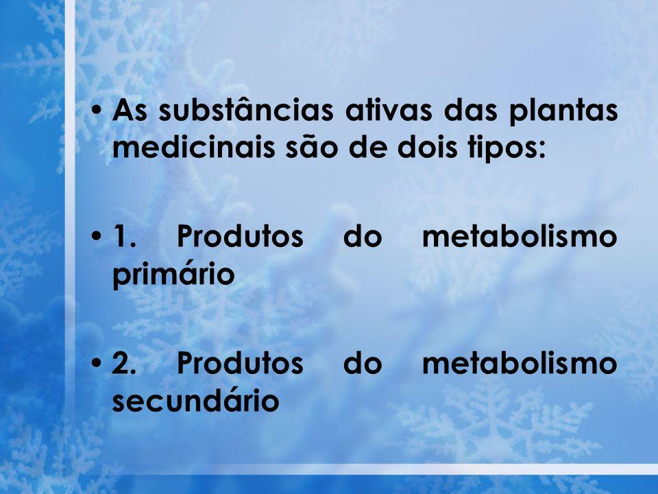As substâncias ativas das plantas medicinais são de dois tipos: