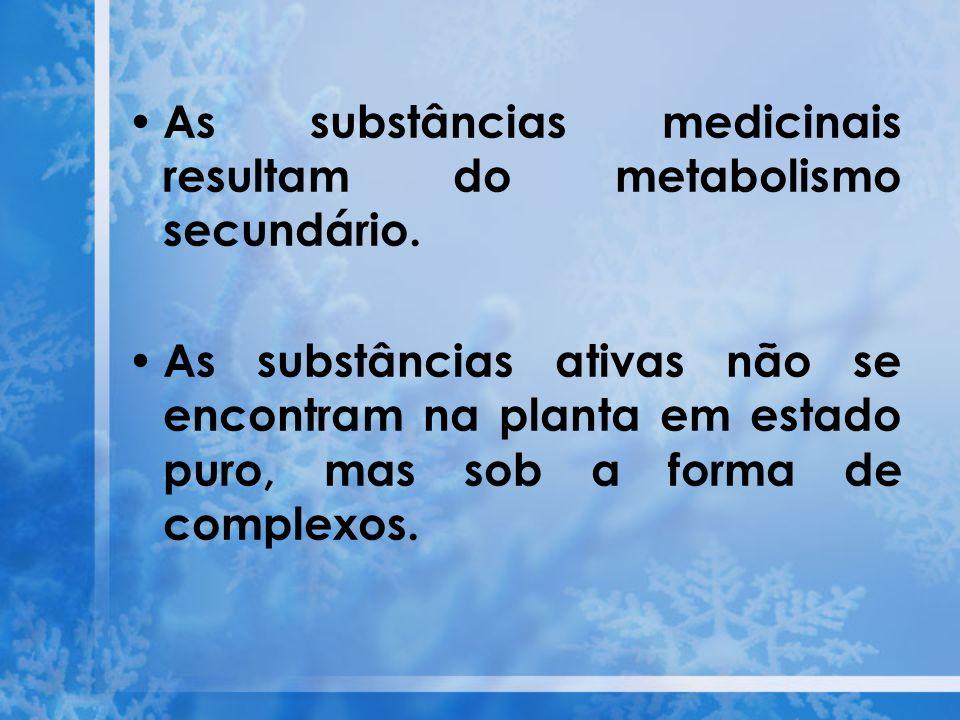 As substâncias medicinais resultam do metabolismo secundário.