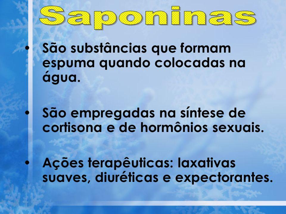 Saponinas São substâncias que formam espuma quando colocadas na água.