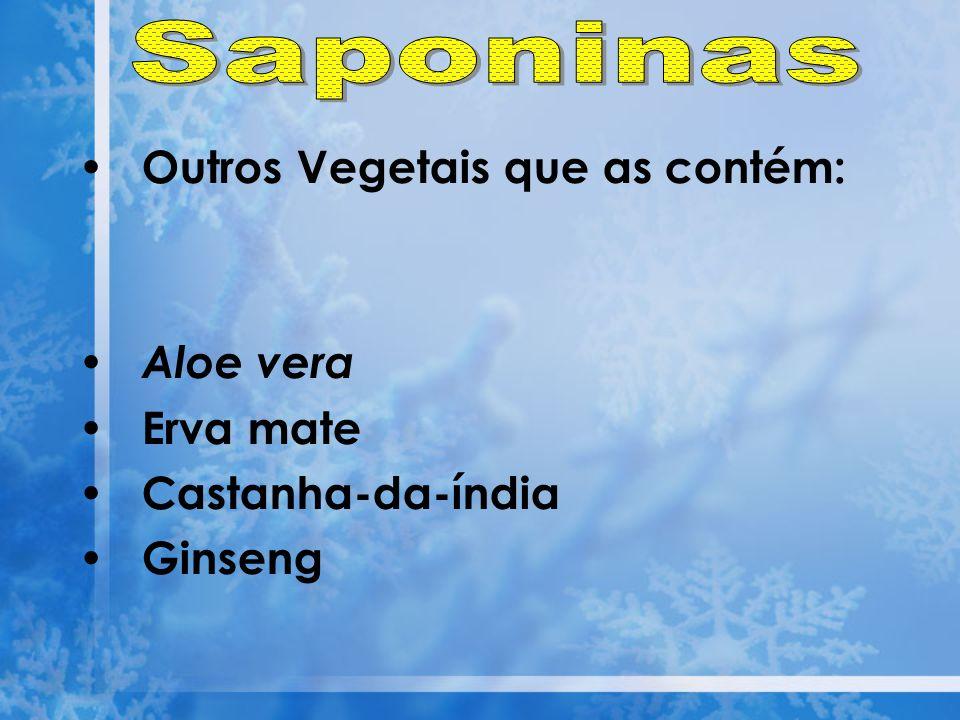 Saponinas Outros Vegetais que as contém: Aloe vera Erva mate