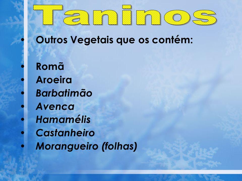 Taninos Outros Vegetais que os contém: Romã Aroeira Barbatimão Avenca