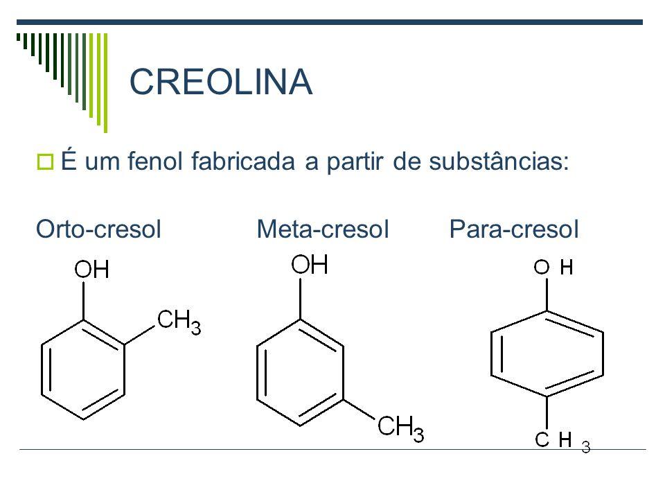 CREOLINA É um fenol fabricada a partir de substâncias: