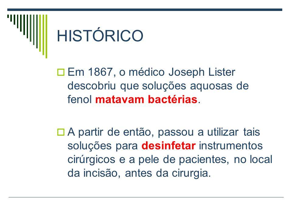 HISTÓRICOEm 1867, o médico Joseph Lister descobriu que soluções aquosas de fenol matavam bactérias.